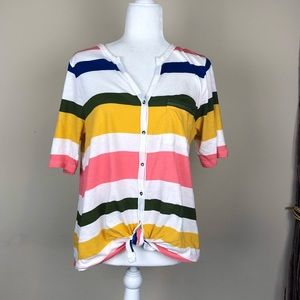 CASLON | Color Block Striped Front Tie T-Shirt XS